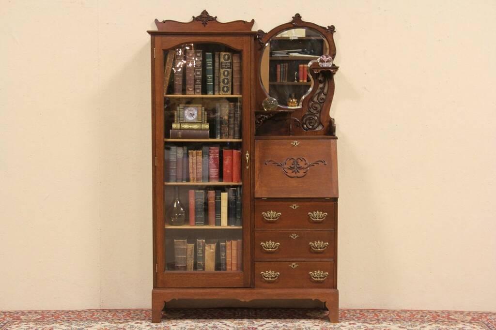Sold Victorian Oak Side By Side Desk Amp Bookcase Harp