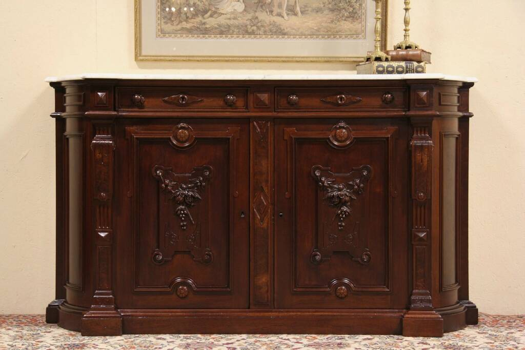 Sold Victorian Renaissance 1875 Marble Top Sideboard