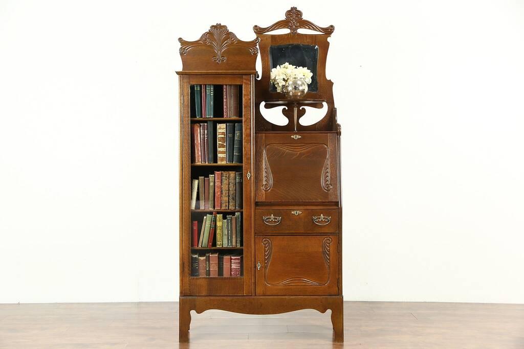 Victorian Oak 1900 Antique Side By Side Secretary Desk Amp Bookcase Harp Gallery Antique Furniture