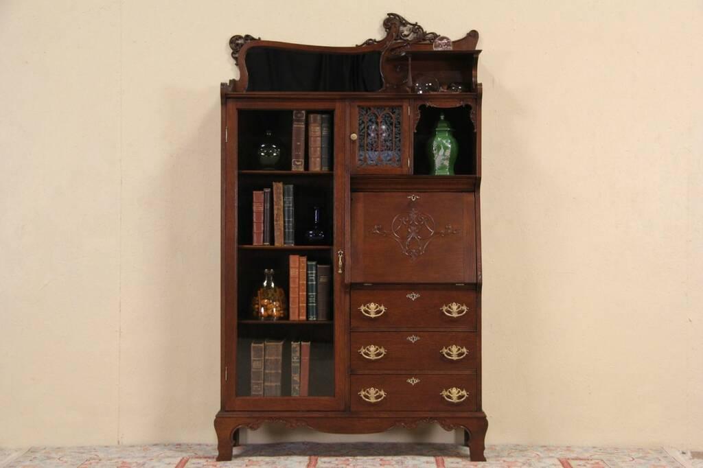 Oak 1900 Antique Side By Side Secretary Desk Bookcase Ebay