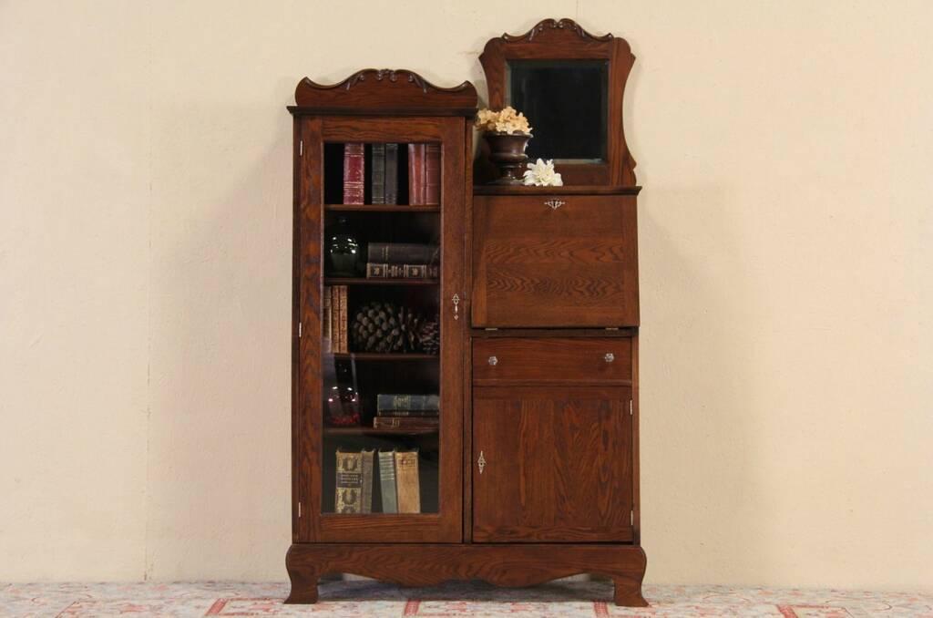 Sold Oak 1910 Antique Side By Side Secretary Desk