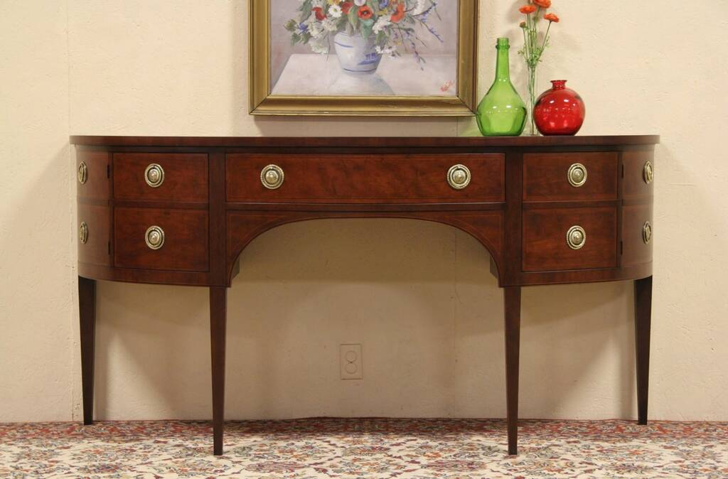 sold baker vintage mahogany demilune console or sideboard harp