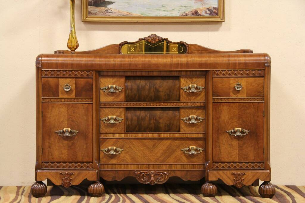 Sold Art Deco Antique 1935 Waterfall Sideboard Or Server