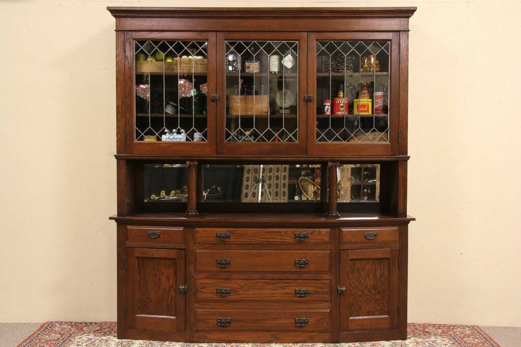 english kitchen cabinets sold arts amp crafts1900 oak pantry cupboard amp sideboard 3575