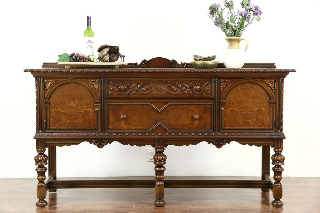 sold english tudor 1920 39 s antique sideboard server or. Black Bedroom Furniture Sets. Home Design Ideas