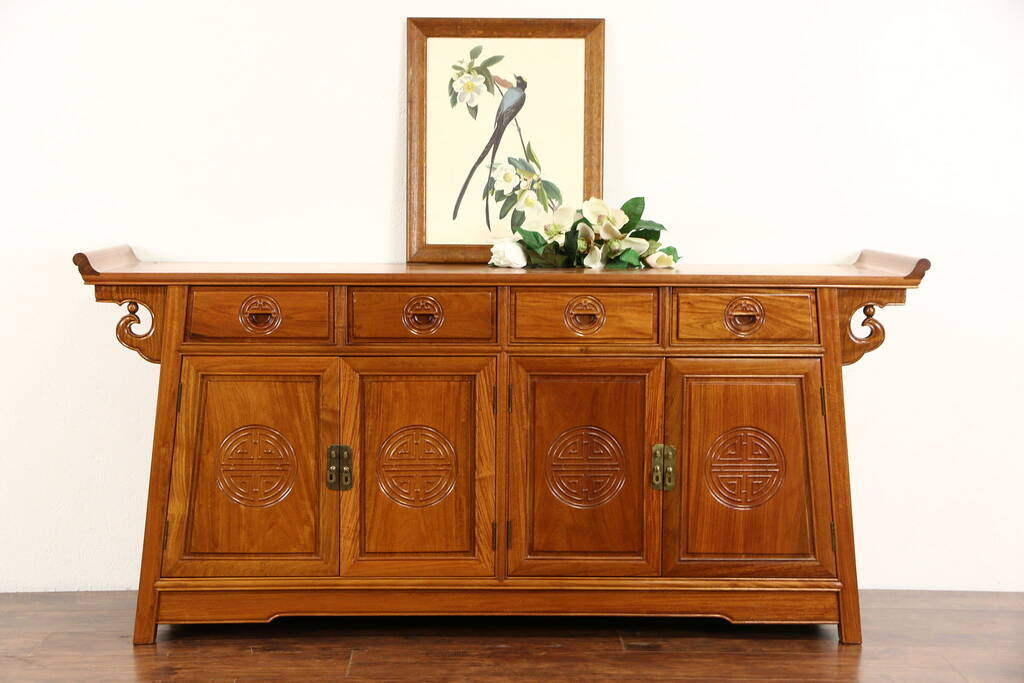 Sold Asian Vintage Hand Carved Rosewood Sideboard Server