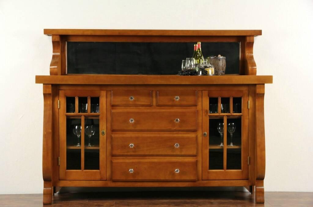 Sold Sideboard Server Birch 1900 Antique Wavy Glass