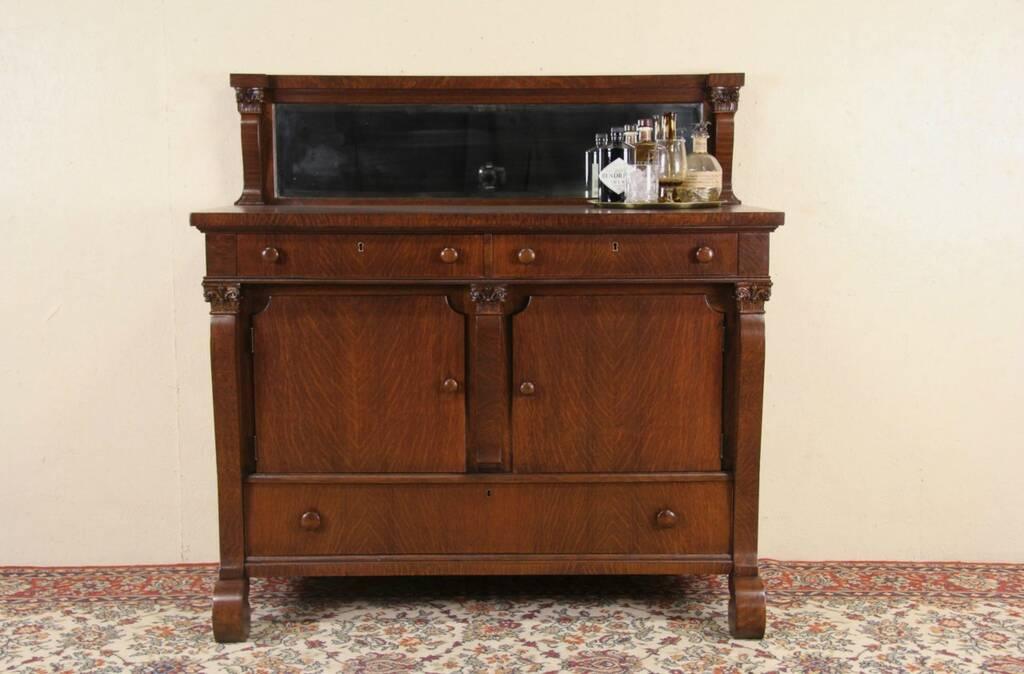 Sold Oak 1900 Antique Sideboard Server Or Buffet