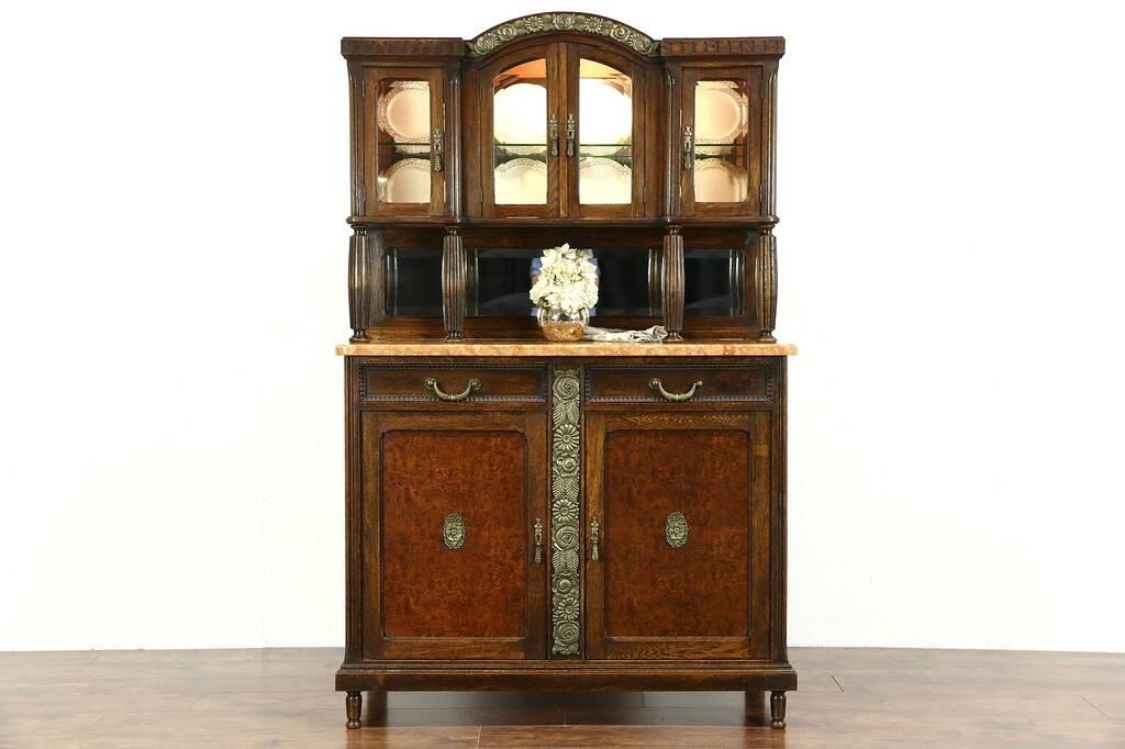 Sold Art Deco 1920 Antique Marble Top Server Sideboard