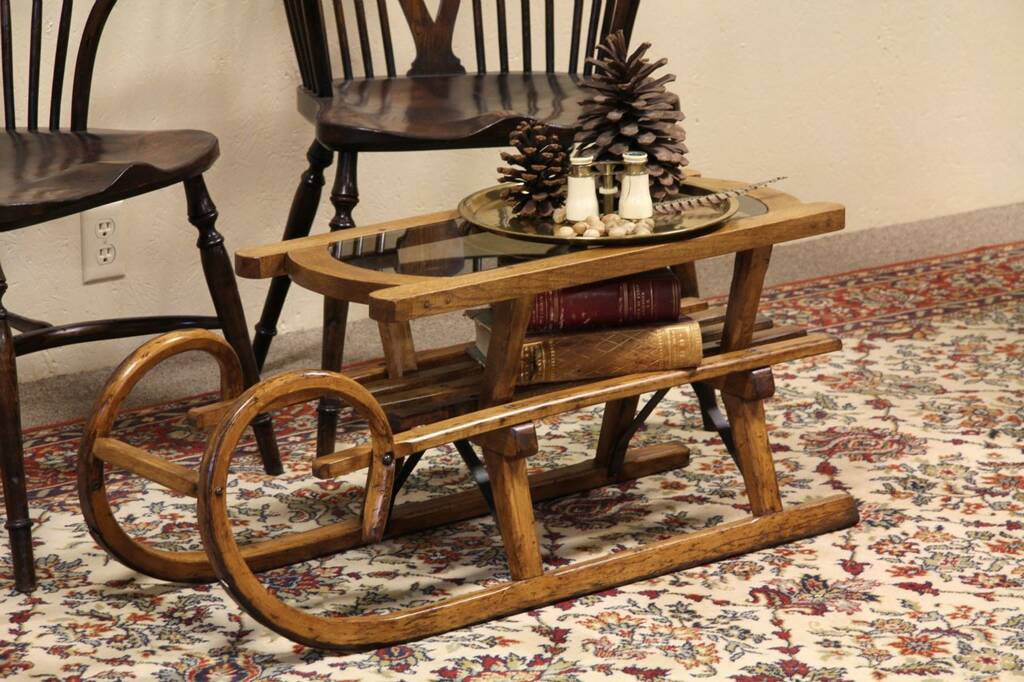 Sold Antique Child 39 S Sled Now A Coffee Table Harp Gallery Antique Furniture
