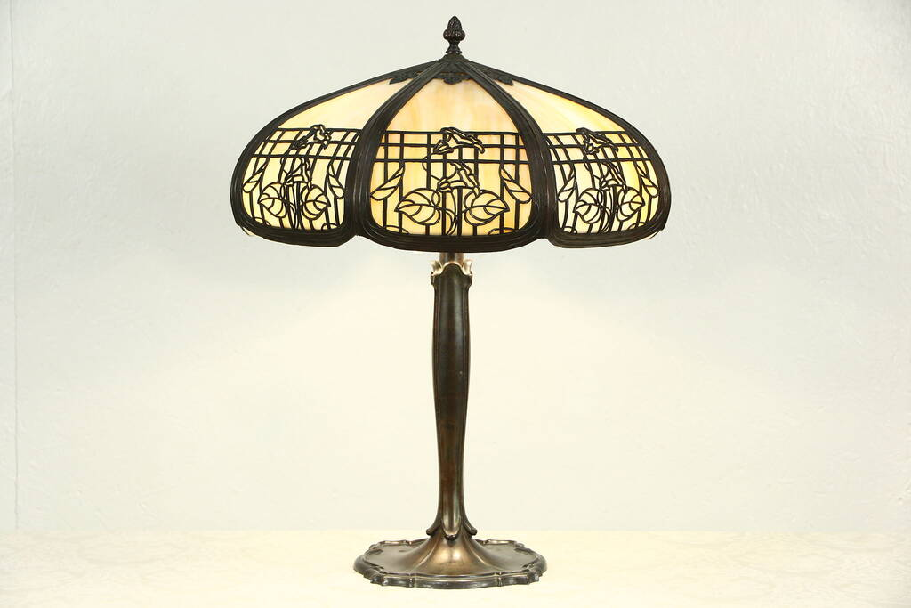 Sold Stained Glass Panel Lamp 1915 Antique Filigree