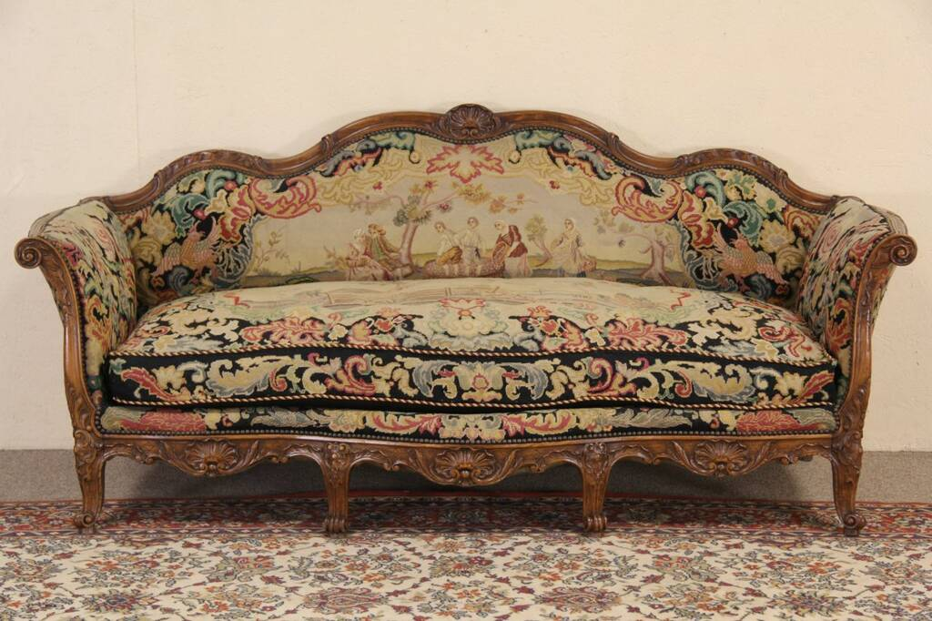 Sold country french 1900 antique needlepoint sofa harp gallery antique furniture - French country sectional sofas ...
