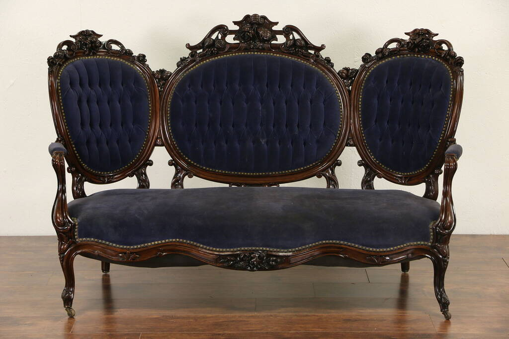 Sold Victorian Hand Carved Rosewood 1860 S Antique Sofa