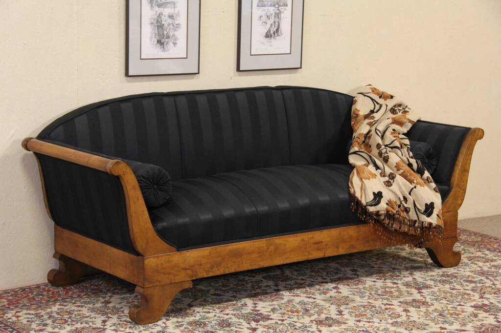Sold Biedermeier Or Empire 1910 Antique Sofa Newly Upholstered Harp Gallery Antique Furniture