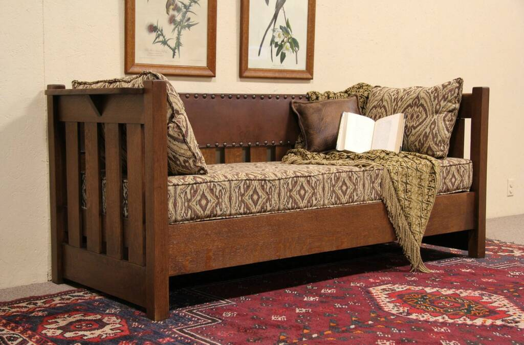 arts crafts mission oak 1905 antique sofa leather back. Black Bedroom Furniture Sets. Home Design Ideas