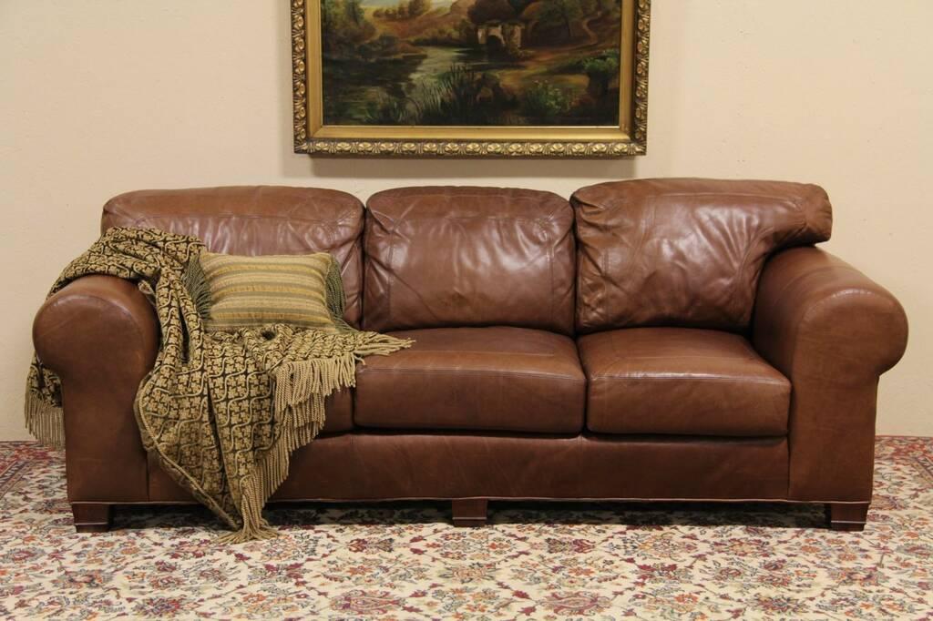 sold whittemore sherrill saddle leather sofa harp