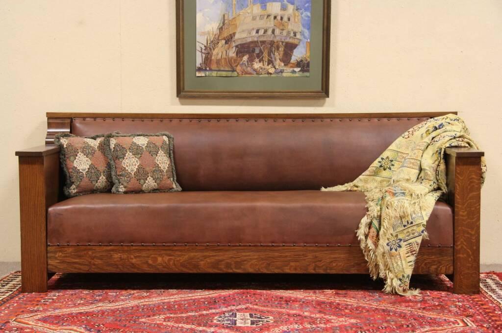 Arts Amp Crafts Mission Oak 1910 Antique Leather Sofa Ebay