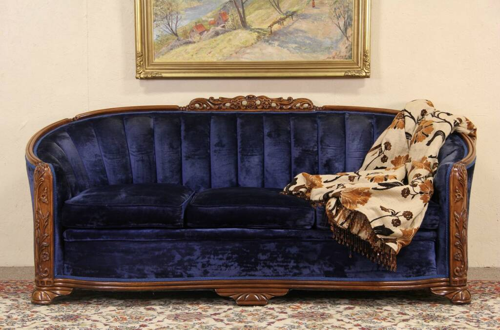 Sold Art Deco Blue Velvet 1930 S Vintage Sofa Harp