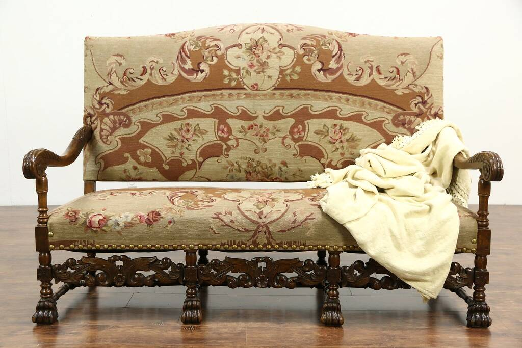 Sold Carved Oak French Antique Hall Bench Settee Or