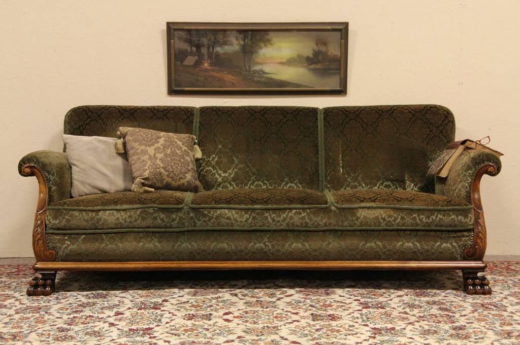 SOLD Velvet 1940 Sofa Carved Lion Paw Feet Harp