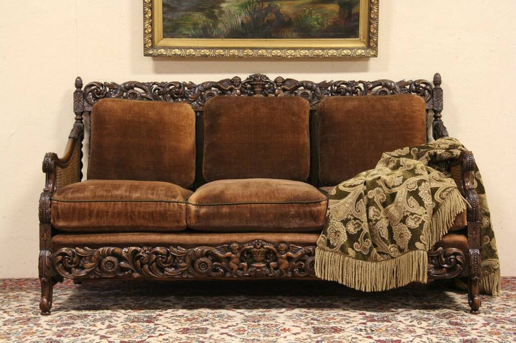 Sold Carved Angels Antique Velvet 1920 S Sofa Harp Gallery Antique Furniture