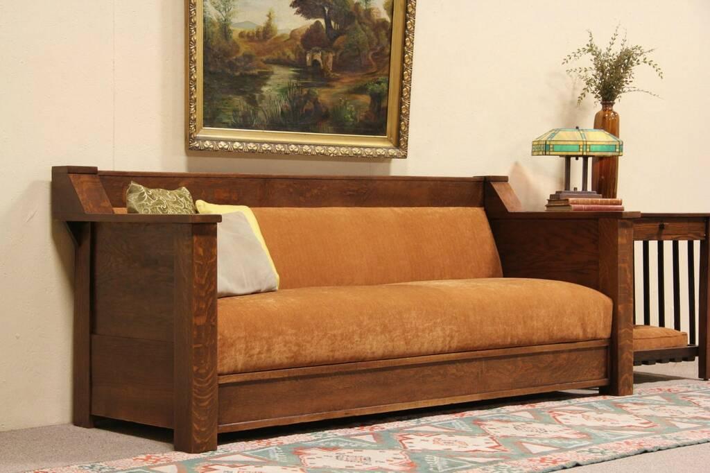 sold arts crafts mission oak 1905 antique sofa harp. Black Bedroom Furniture Sets. Home Design Ideas