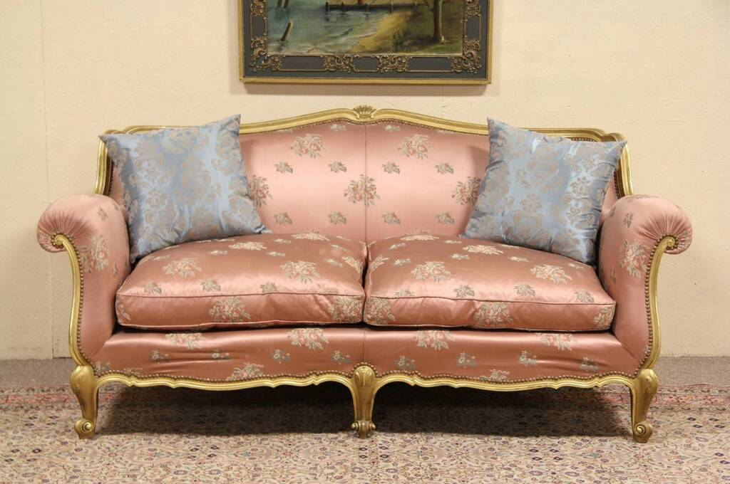 Sold Gold 1920 Italian Salon Sofa Down Cushions