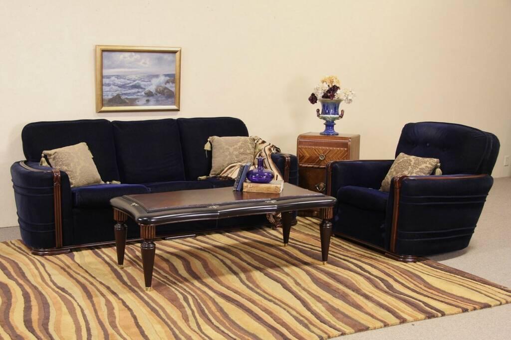 Sold Art Deco Blue Mohair 1935 Vintage Sofa Amp Club Chair Set Harp Gallery Antique Furniture