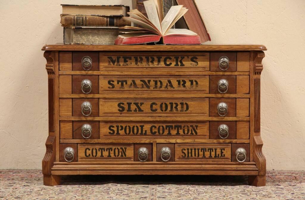 Sold Merrick Oak Spool Cabinet Jewelry Chest Harp