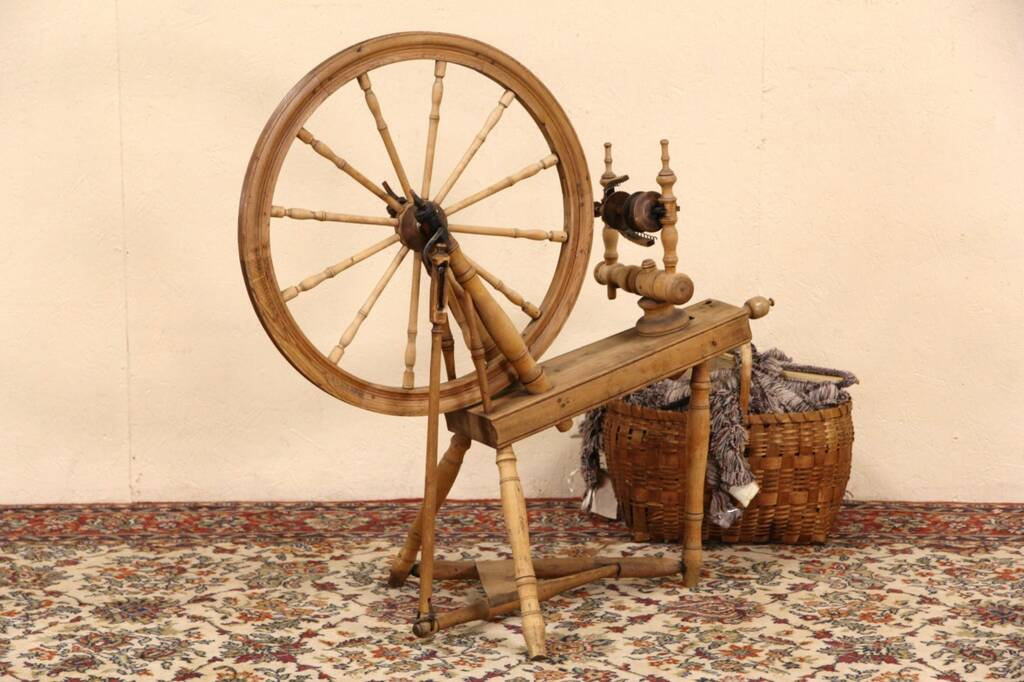 Sold Pine Antique Late 1800 S Spinning Wheel Harp