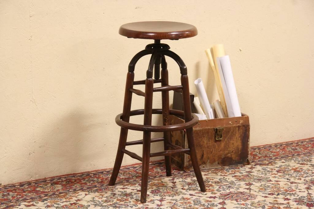 Oak Amp Iron Adjustable 1900 Antique Drafting Architect Or