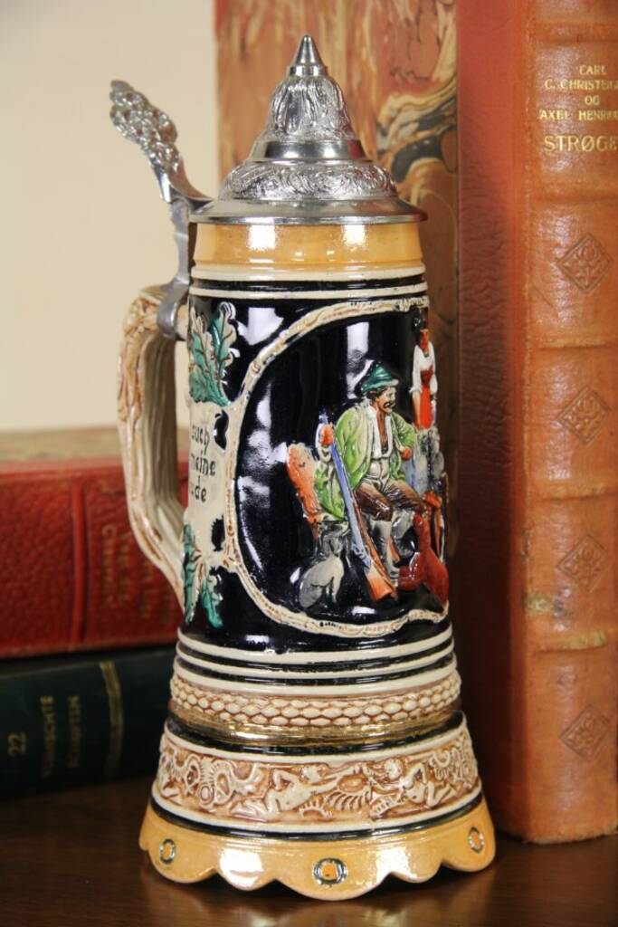 American Made Furniture >> SOLD - Another Little Drink German Musical Beer Stein - Harp Gallery Antique Furniture