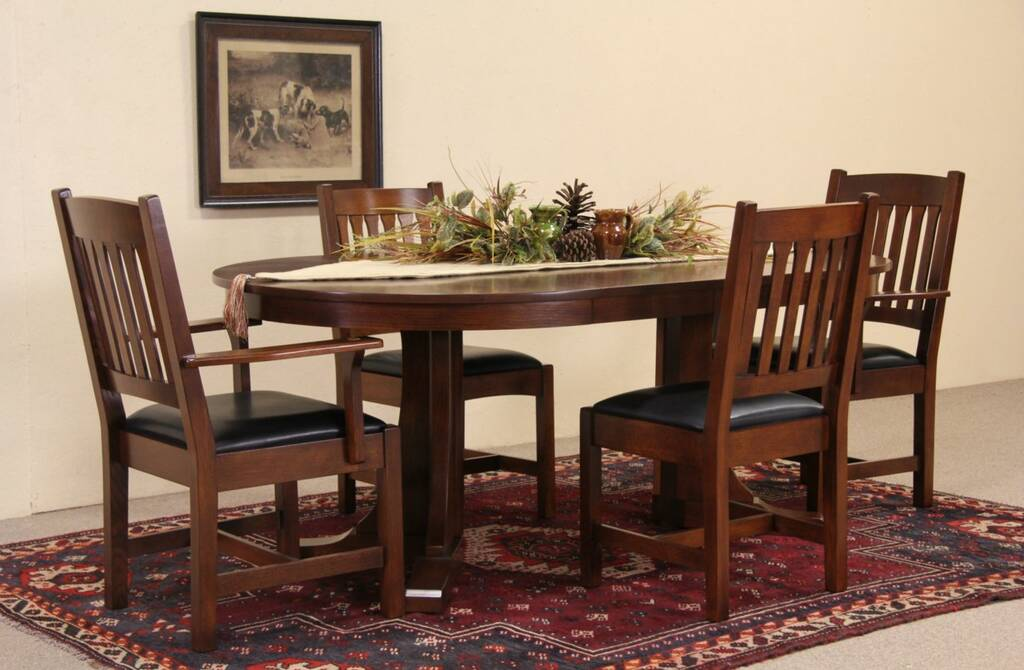 Stickley Vintage Arts Amp Crafts Dining Or Game Table Set 4