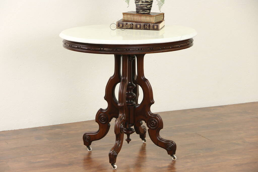 Sold Victorian 1875 Antique Marble Top Walnut Parlor