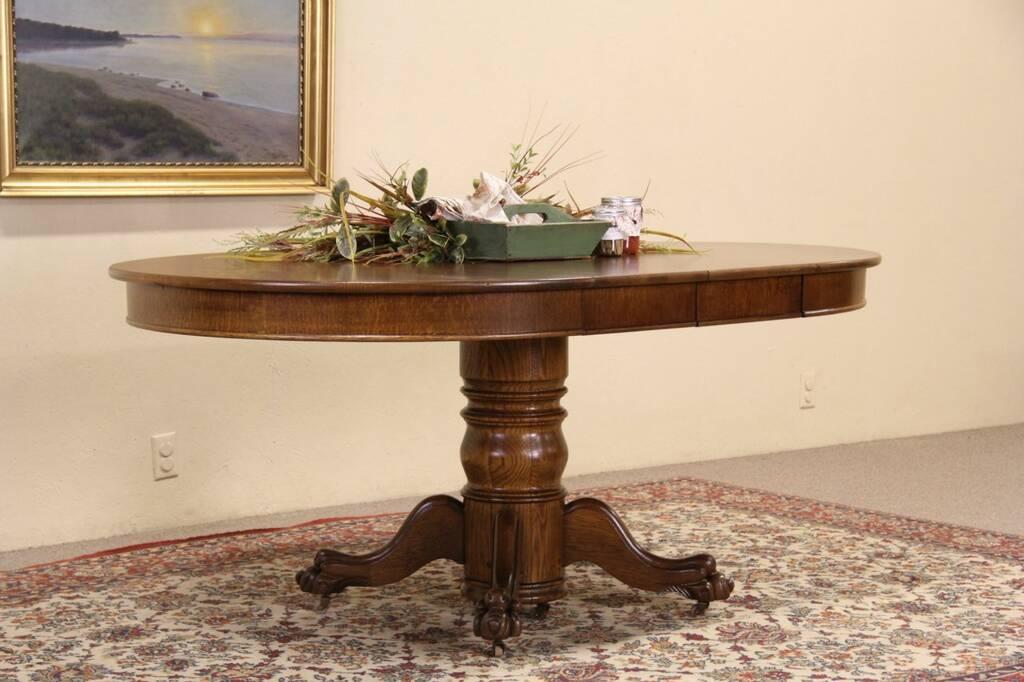 round oak 1900 antique dining table lion paw pedestal 2 leaves ebay. Black Bedroom Furniture Sets. Home Design Ideas