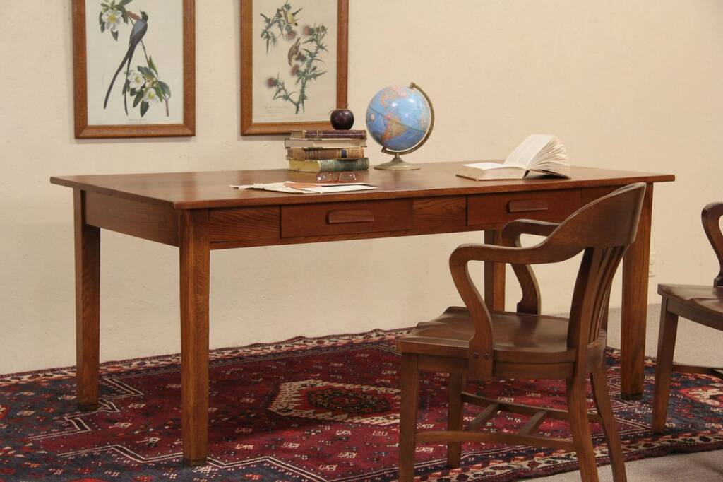 Oak 1940 Vintage Library Writing Or Dining Table 2