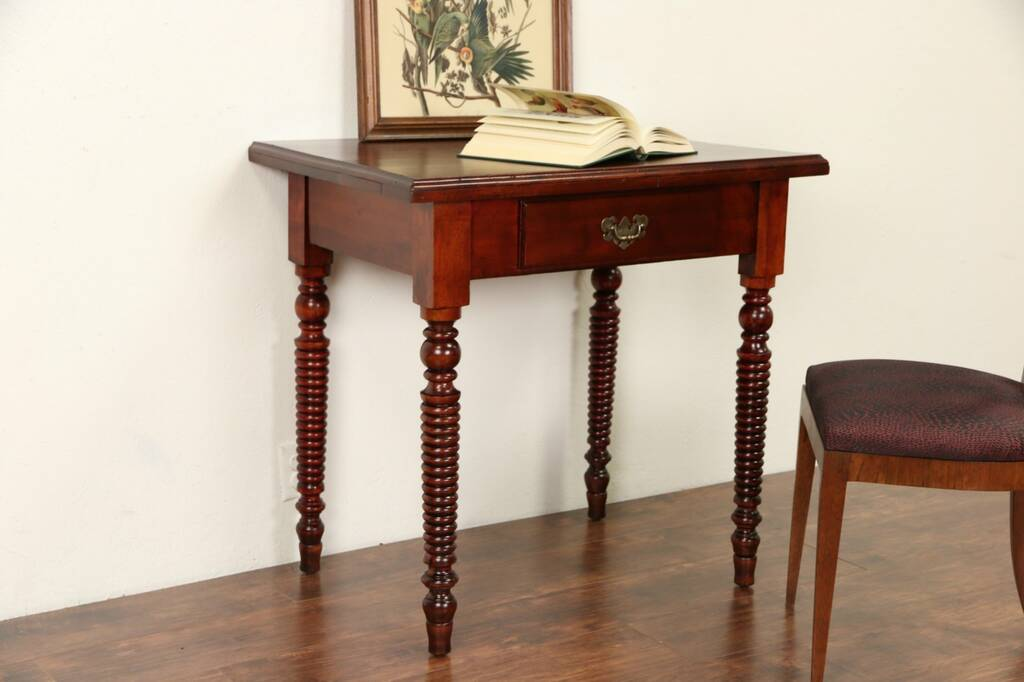 Sold Writing Desk Or 1900 Antique Lamp Table Spool