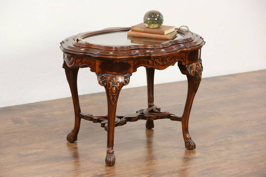 Carved Walnut Amp Bird Marquetry 1930 S Vintage Coffee Table