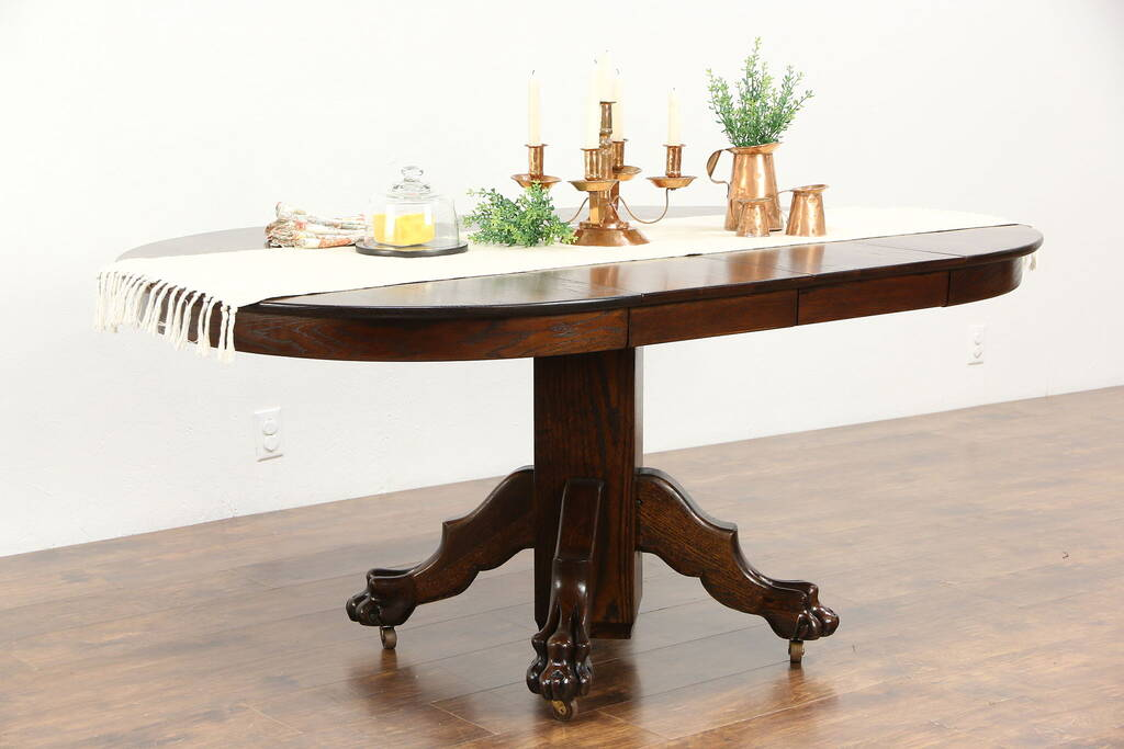 Oak 1900 Antique 42 Quot Round Dining Table 2 Leaves Carved
