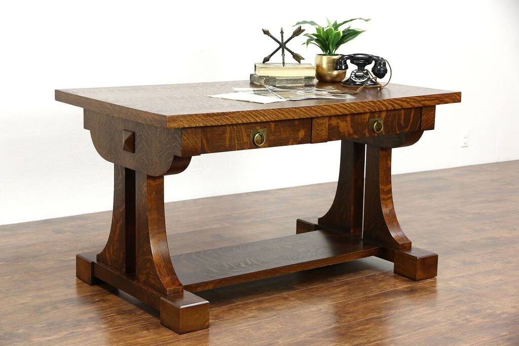 Sold Arts Amp Crafts Quartersawn Oak Library Table Or Desk