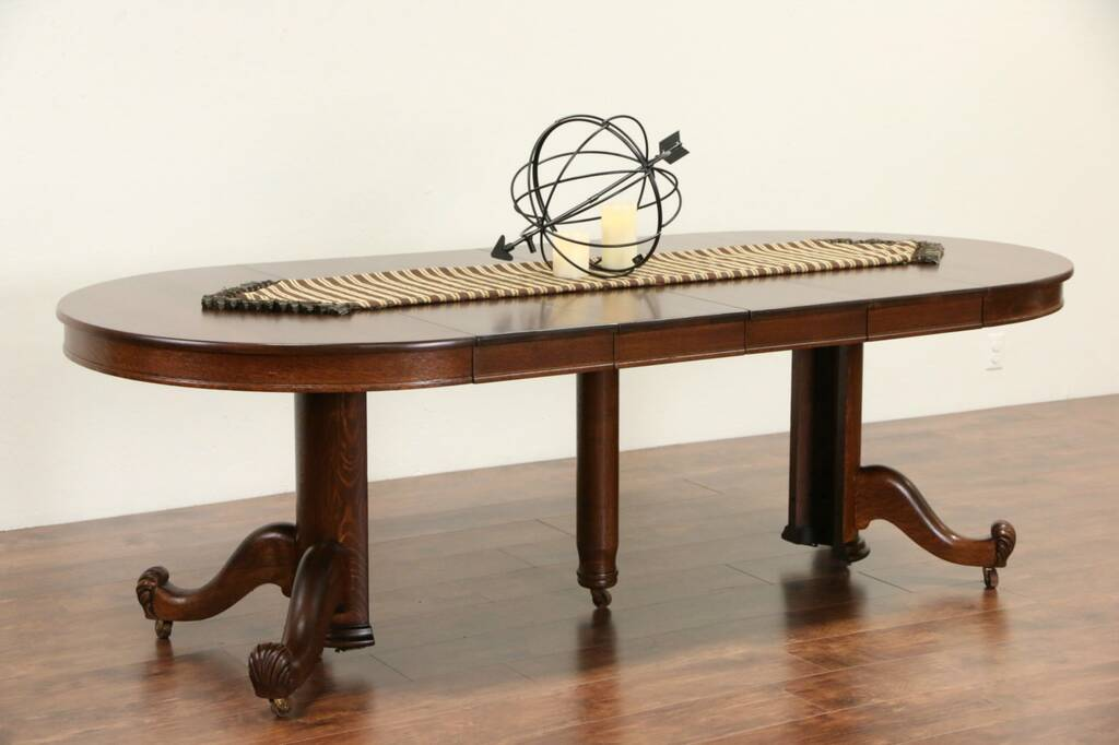 sold oak 44 round 1900 antique dining table pedestal 4 leaves