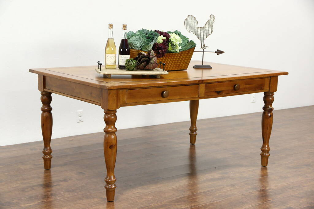 Sold Country Pine Farmhouse Vintage Harvest Dining Table 2 Drawers Harp Gallery Antique
