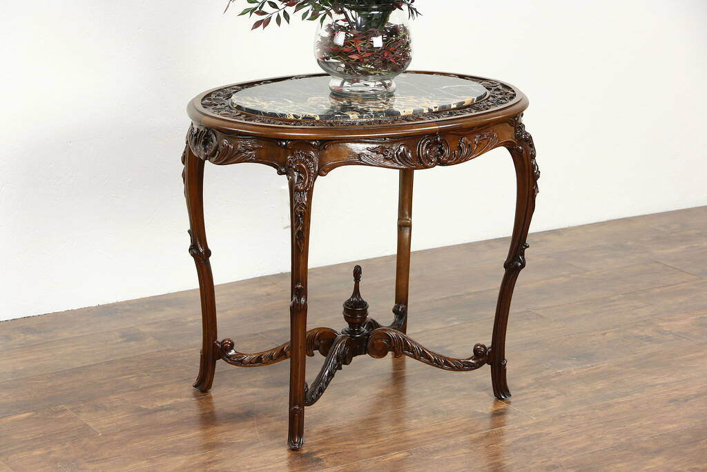 Sold Carved 1920 S Antique Walnut Lamp Or End Table Black Italian Marble Harp Gallery