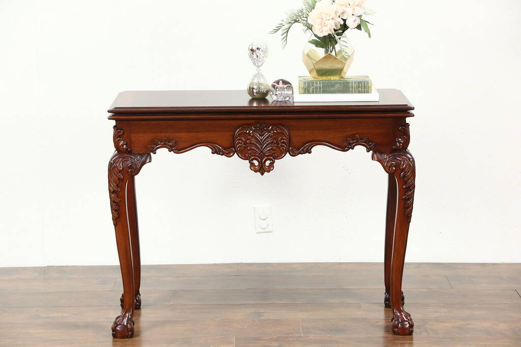 Sold Georgian Style Carved Mahogany Combination Gateleg