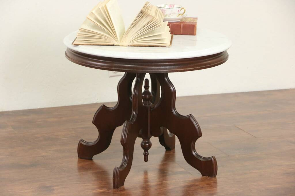 Sold Victorian Style Round Mahogany Coffee Table Marble