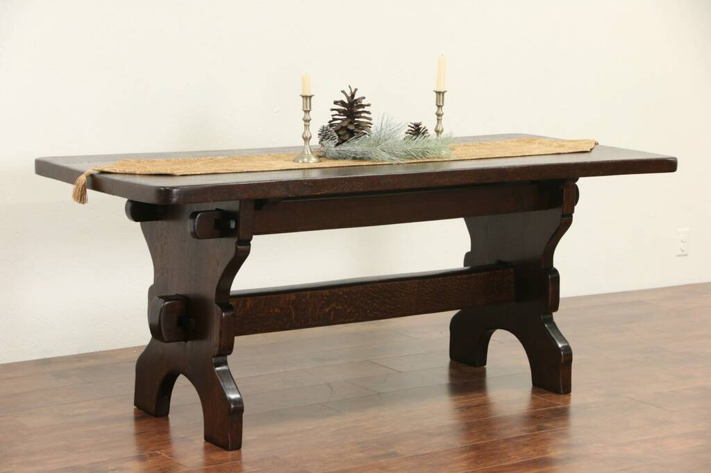 Sold Oak Trestle Base Hand Hewn 1900 Antique Rustic