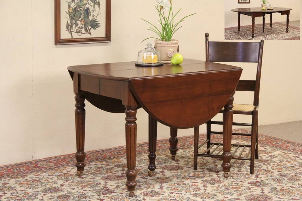 Victorian oval 1890 antique drop leaf dining table 3 for Drop down leaf dining table