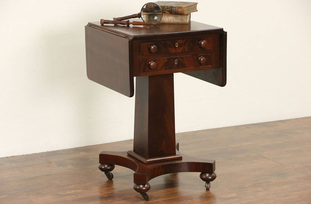 Sold Empire 1835 Antique Mahogany Drop Leaf Sewing Stand
