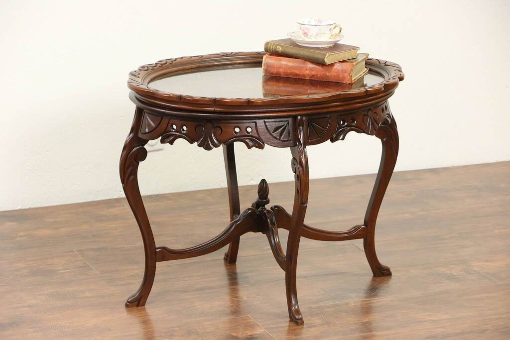 Sold Carved 1920 S Antique Coffee Table Marquetry
