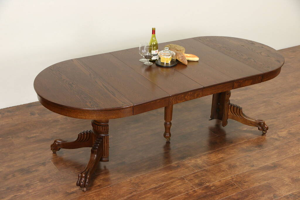 Sold Round Oak 1900 Antique Dining Table Carved Lion